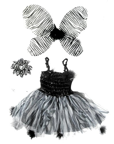 [3 Pc Girls Halloween Fairy Zebra Costume with Hair Clip Ages 3-5] (Little Zebra Girls Costumes)