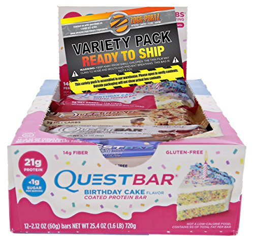Americas #1 Favorite Protein Bar (NEW) Variety Pack 12- Bars (Birthday Cake For College Students)