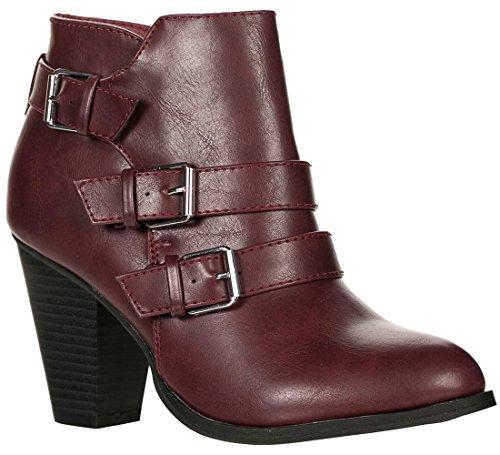Forever Women's Buckle Strap Block Heel Ankle Booties, Wine 7.5