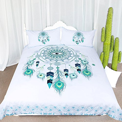 ARIGHTEX Blue Green Dreamcatcher Bedding 3 Pieces Bohemian Dream Catcher Mint Green Duvet Cover Teenage Girl Comforter Cover Sets (Queen)