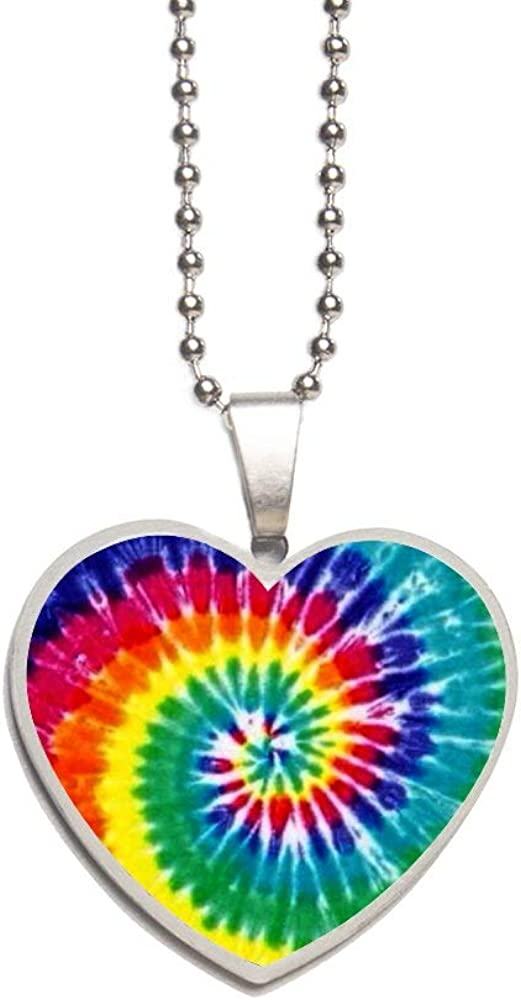 Tie Dye Necklace Personalized Engraved Heart Custom Gift Pendant-Valentines Day Love