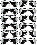 Classic Aviator Mirrored Lens Eyeglasses Black, Silver Frames 12 Pack OWL.