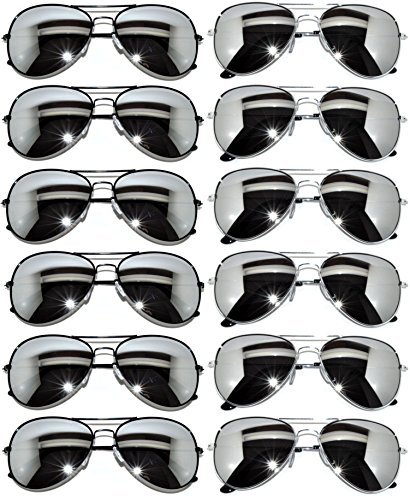 12 Pack Aviator Mirrored Lens Eyeglasses Black, Silver Frames - By The Sunglasses Dozen