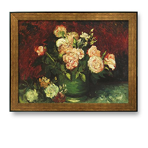 (Framed Art Prints - Bowl with Peonies and Roses by Vincent Van Gogh - Famous Painting Wall Decor - 24
