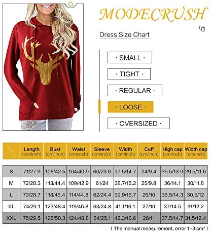 Womens Hooded Sweatshirt Long Sleeve Reindeer Print Casual Hoodie Pullover Top with Pockets