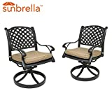 Table & Chair Designs  Nevada Cast Aluminum Patio Swivel Rocking Chairs with Sunbrella Premium Cushions (Set of 2, Sesame)