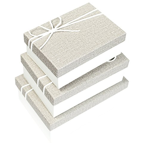 Ikee Design Nesting Gift Rectangle Boxes with Lids 3 Assorted Sizes Ready for Gift Giving (Stacking Gift)