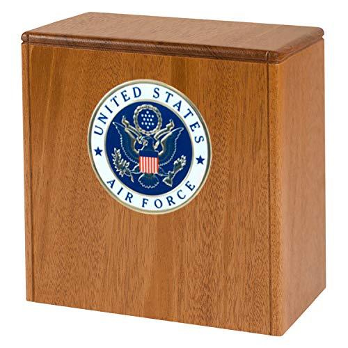 Wood Cremation Urn for Columbarium Niche Made in The USA & Designed for Arlington National Cemetery Urn Niches (Air Force Medallion, Mahogany)