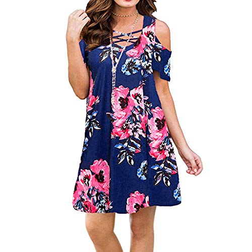Answerl Womens Dresses Cold Shoulder Round Neck Loose Tunic Casual T Shirt Dress Floral Print Sundress Blue ()