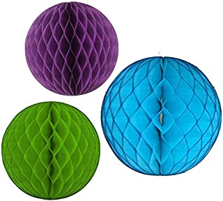 product image for Honeycomb Balls, Set of 3, 12 inch and 8 inches (Peacock - Turquoise/Lime/Purple)