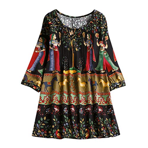 Aniywn Women Plus Size Linen National Tunic T-Shirt Loose Plus Size Boho Swing Long Tops Blouse ()