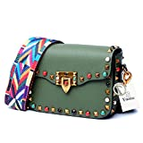 Yoome Mini Crossbody Bag Designer Clutch for Women Rivets Bags with Colorful Strap Cowhide Leather Shoulder Bag for Girls - Green