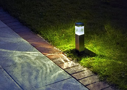 Solar Lights Outdoor,Super Bright 10 Lumen Satinless Steel Bollard Solar Light,2pcs-Pack,Landscape Lighting,Solar Pathway Lights,for Lawn,Patio,Yard,Walkway,Driveway,Pathway,Garden,Landscape