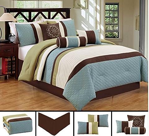 Dovedote Gorman Hills Strips Comforter Set, King, Light Blue Green Coffee, 7 Piece
