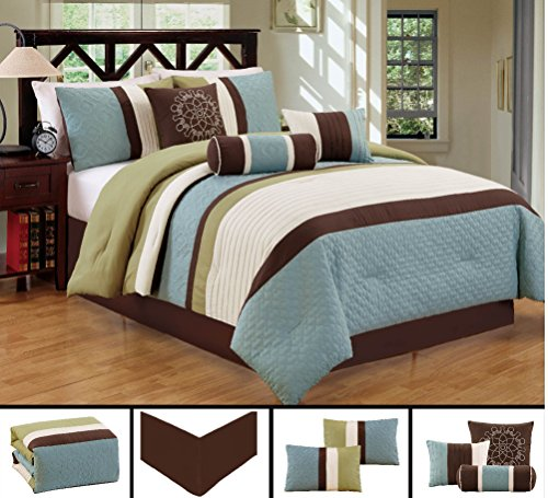 Dovedote Gorman Hills Strips Comforter Set, Queen, Light Blue Green Coffee, 7 Piece (Bedspreads Daybed)