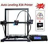 High precision Auto Leveling Self-assembly DIY X3A 3D Printer Large Aluminium Frame Reprap Prusa i3 with Separate LCD Screen, Large Printing Size 220x220x300mm Including 10m Filament Gift+8GB Card
