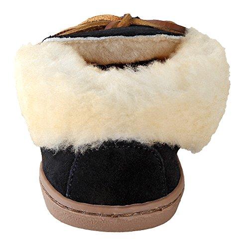 Minnetonka Mujeres Alpine Sheepskin Moc Black