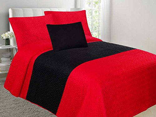 Allison 4-Piece Soft Velvet Touch Quilted Bedspread Multi-Color Bed Cover Set OVERSTOCK SALE! (Red & Black, Full) by EMPIRE