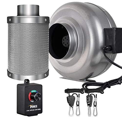 iPower 6 Inch 442 CFM Inline Fan Carbon Filter Combo with Variable Speed Controller 8 Feet Rope Hanger for Grow Tent Ventilation Review
