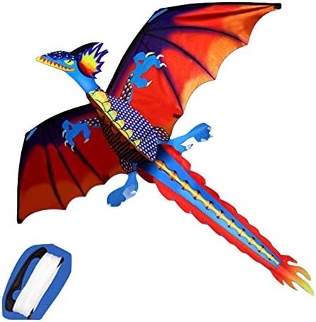Hi Suyi 55in Chinese 3D Dragon Kites for Kids Adult Easy To Fly Single Line with Flying Line