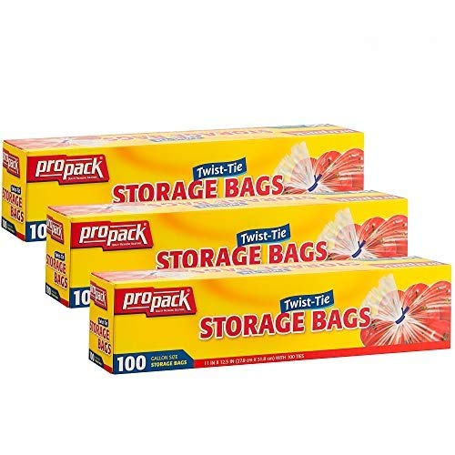 Propack Clear Disposable Plastic Twist & Tie Gallon Size Storage Bags, Great Use for Every Day Snacks, Sandwiches, Fridge Or Freezer, 3 Pack (300 Bags)