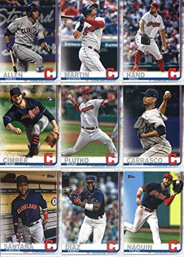 2019 Topps Complete (Series 1 & 2) Baseball Cleveland Indians Team Set of 27 Cards: Josh Donaldson(#34), Edwin Encarnacion(#42), Michael Brantley(#51), Trevor Bauer(#110), Jason Kipnis(#124), Yan Gomes(#143), Mike Clevinger(#199), Jose Ramirez(#223), Cody Allen(#256), Francisco Lindor(#269), Shane Bieber(#271), Andrew Miller(#293), Yonder Alonso(#328), Corey Kluber(#336), Leonys Martin(#358), Brad Hand(#368), Adam Plutko(#492), Progressive Field(#495), plus more