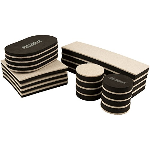 SuperSliders 4712595Z Reusable Felt Furniture Sliders- All-In-One Kit For Hard Floor Surfaces, Linen (20 - Linen Tile