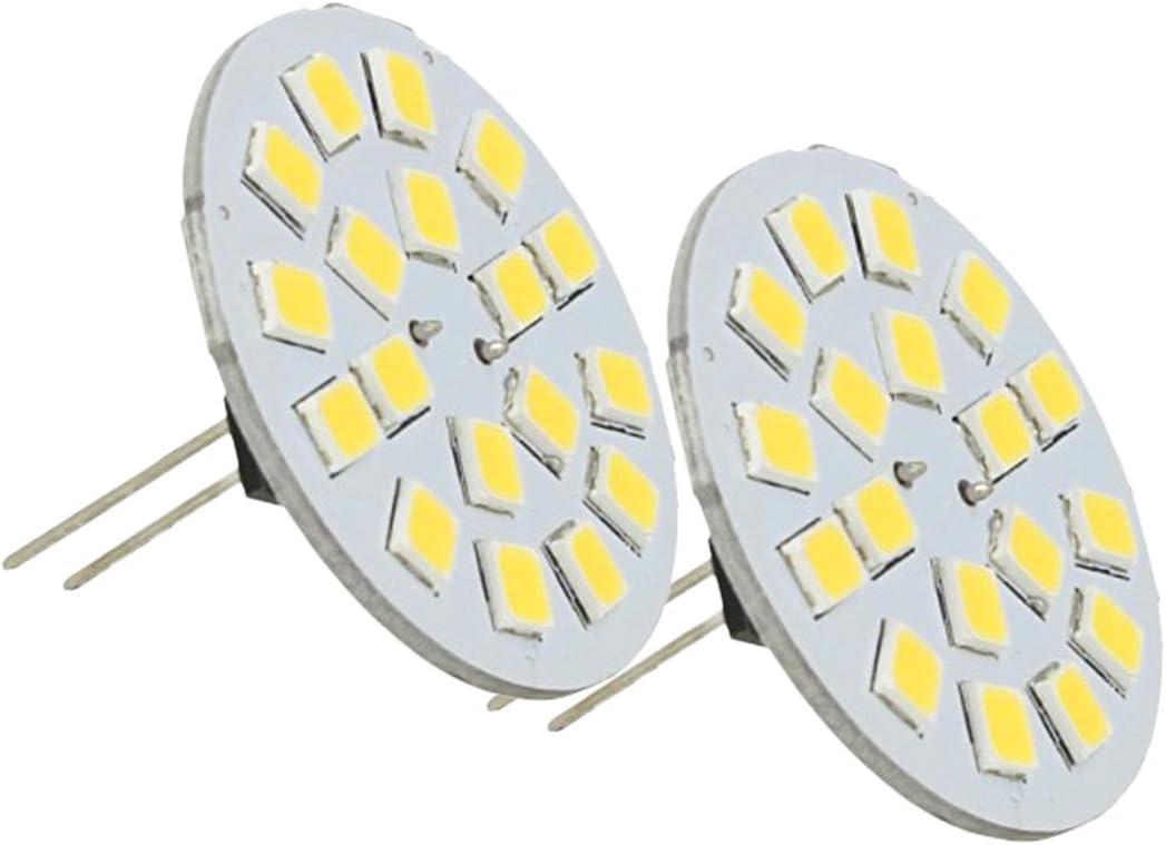 LEDLUX 2 bombillas LED G4 Enchufe doble DC AC 12V 24V 3W Conexión central 18 SMD 2835 (3000K)