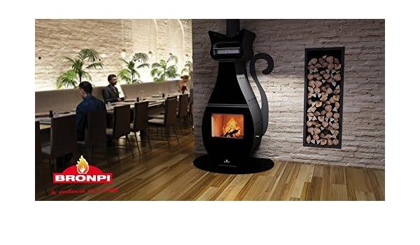 Estufa con horno diseño gato negro con base cristal: Amazon.es: Bricolaje y herramientas