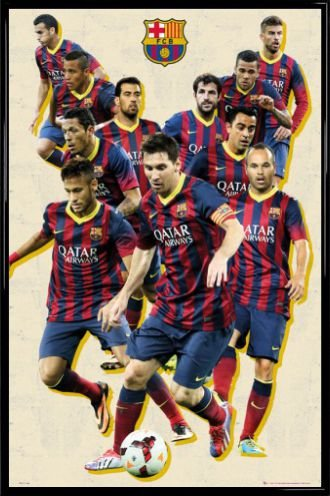 42f37a19f Football Poster and Frame (Plastic) - Barcelona, Players Vintage 13/14 (36  x 24 inches): Amazon.ca: Home & Kitchen