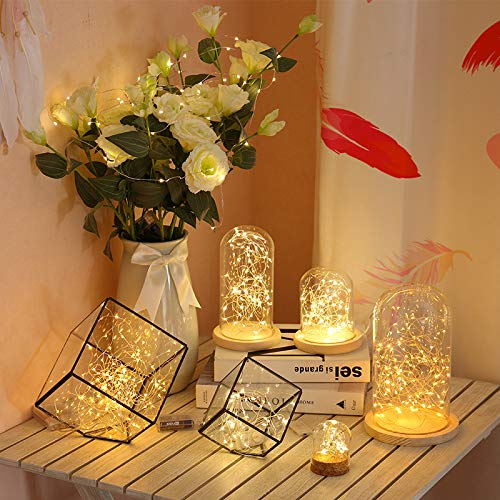 LIIDA 3-Pack Battery Operated Fairy String Lights 20LED Starry Lights Battery Powered 7.2ft Silver Copper Wire for Birthday Party Wedding Decorations -