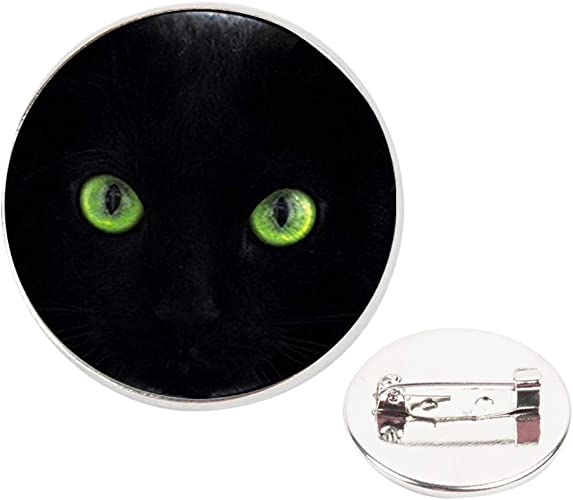Pinback Buttons Badges Pins Black Cat Green Eyes Lapel Pin Brooch Clip Trendy Accessory Jacket T-Shirt Bag Hat Shoe