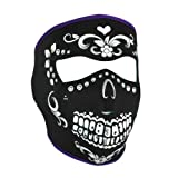 Neoprene Face Mask, Muerte, Purple Piping, Teal Interior