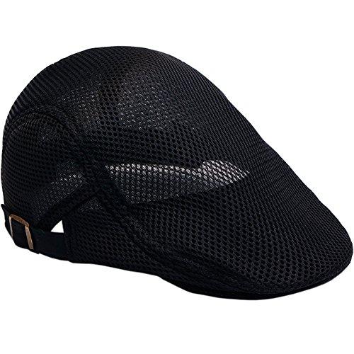 Men's mesh Flat Cap Duckbill Beret Ivy Newsboy Driving Cabbie Caps Hunting?Hat - Mens Hat Beret With Brim
