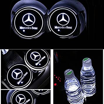 AutoDIY Led Car Logo Cup Lights up Holder USB Charging Waterproof Bottle Drinks pad 7 Colors Changing Atmosphere Lamp mat Cars for Luminous Coasters 2PCS for Chevrolet