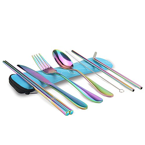 KISSWILL Travel Utensils, 8 Pieces including Knife Fork Spoon Chopsticks Cleaning Brush Straws Portable Case, Camping Silverware with Case, Dishwasher Safe ()