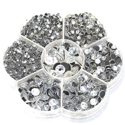 3060 pcs hotfix Crystals Mixed Sizes Glass Rhinstones Flatback Hot Fix Stones (White)