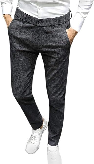 Jiameng Zi Pantalones Para Hombre Color Solido Casual Slim Fit Pantalones De Negocios Pantalones Vestir Hombre Pantalones De Negocios Formal Basicas Pantalones De Trabajo De Hombre Amazon Es Ropa Y Accesorios