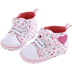 Voberry Baby Girls Toddler Lace up Sneaker Anti-slip Boots Crib Shoes (0~6 Month, Floral)