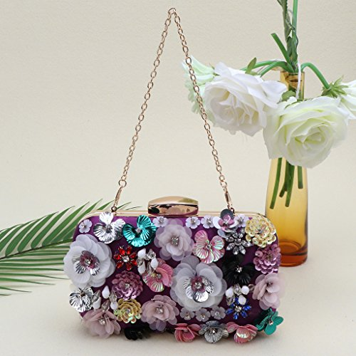 Handbag Evening Rhinestone Out Cocktail Wanfor Clutch Night for Girl Party Purple Mother Prom Noble Gift Wedding for qIwCpCfR