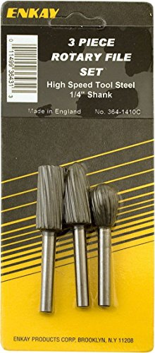 Enkay 364-1410C High Speed Rotary File Assortment, Carded, 3-Piece (Assortment Carded)