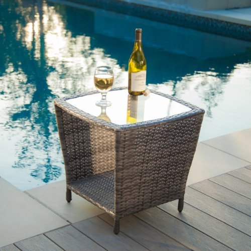 Easton Outdoor Grey Wicker Accent Table by Great Deal Furniture