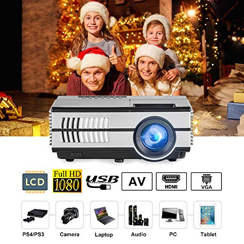 LCD Mini Projector Portable, EUG Pico Home Projector Multimedia HDMI USB Support HD 1080P 720P 2800 Lumen LED Proyector Laptop Games Movies Artworks with Built-in Speakers,Zoom,Keystone