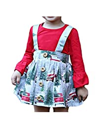 LOOLY Baby Girl 2pcs Outfits Long Sleeve Shirt Top+Suspender Braces Skirt Overalls