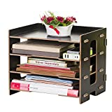 YUMU Rustic Wood Desk Organization for File Organizer Folders Desktop File Mail Sorter 4 Layers DH1044-01