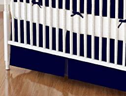 SheetWorld - Crib Skirt (28 x 52) - Solid Navy Woven - Made In USA