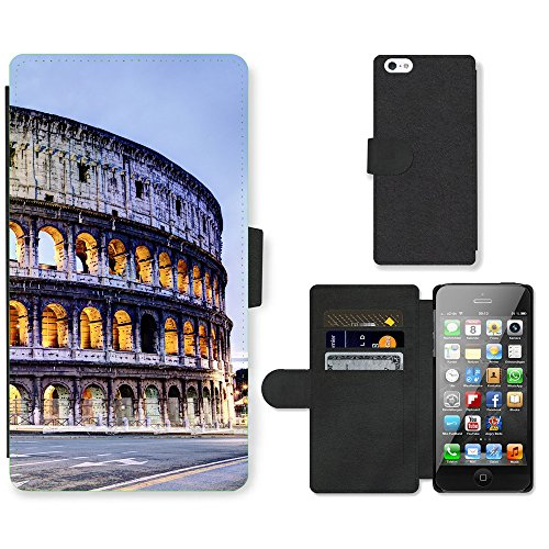 PU Leder Wallet Case Folio Schutzhülle // V00002704 Colosseum Rom // Apple iPhone 5 5S 5G SE
