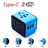 CoCoCity International Universal Travel Charger, Power Adapter with Type C+3 USB Port [UK EU US Asia Au] Wall Charger Plug Worldwide AC Power Plug Converters Socket (Blue)