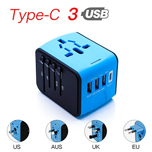 CoCoCity International Universal Travel Charger, Power Adapter with Type C+3 USB Port [UK EU US Asia Au] Wall Charger Plug Worldwide AC Power Plug Converters Socket (Blue) by CoCoCity