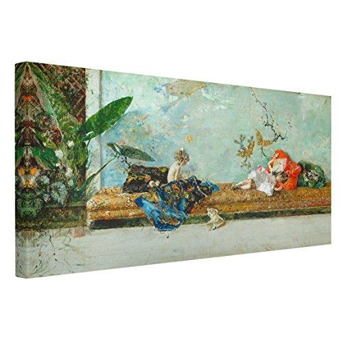 Bilderwelten Cuadro en lienzo - Mariano Fortuny - Los Hijos del Pintor en el Salon japones - Apaisado 12, cuadro lienzo cuadro sobre lienzo cuadro decoracion cuadro decorativo, Tamano 80 x 160 x 2cm